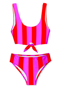 Candy Stripe Chest Tie Bikini