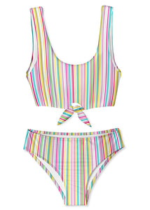 Super Striped Tie Bikini for Girls