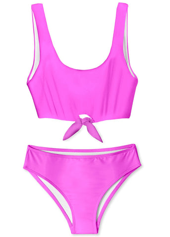 Neon Pink Front Tied Bikini for Girls