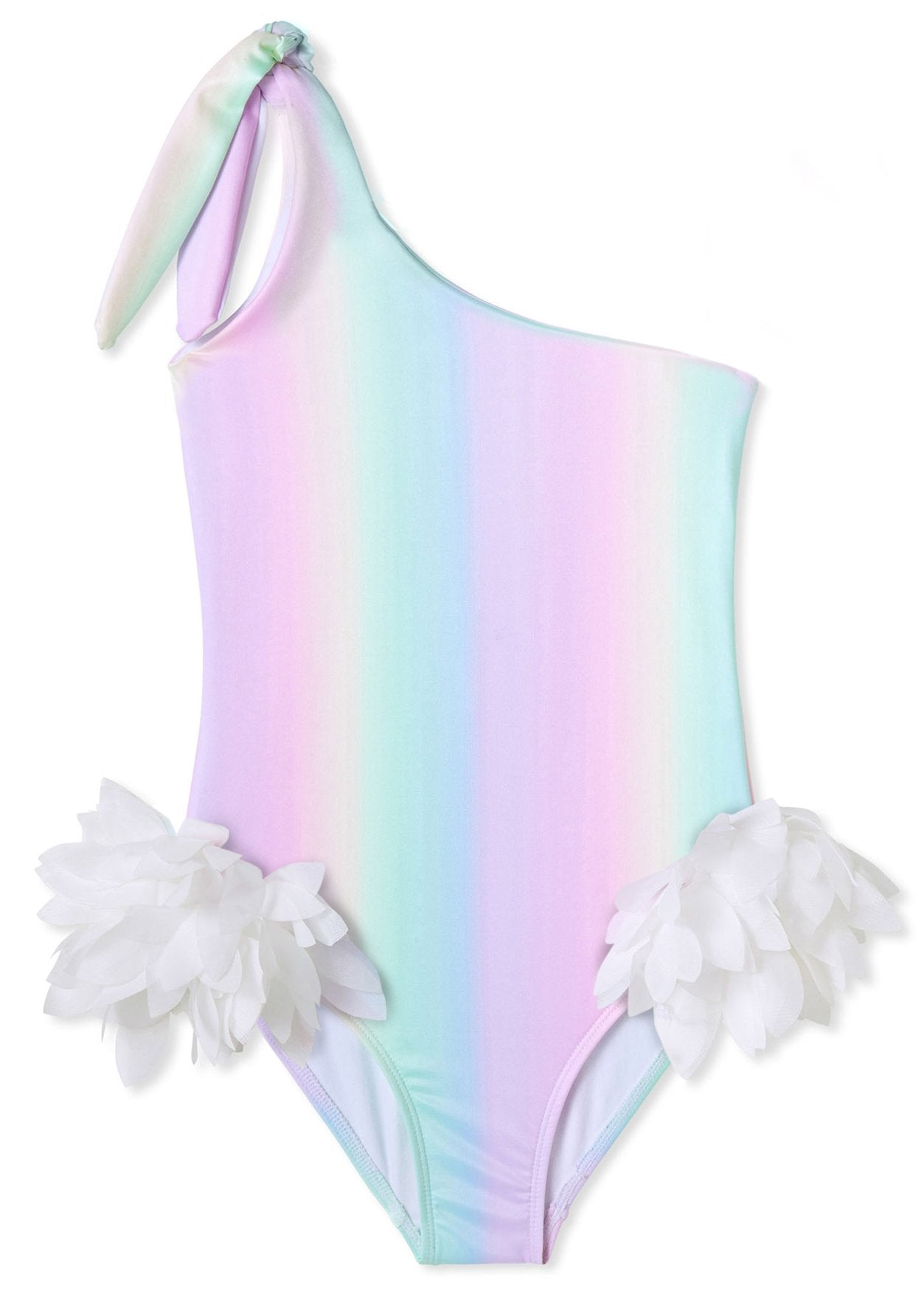 Rainbow One Shoulder Swimsuit with Petals