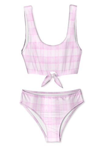 Pink Check Tie Bikini for Girls