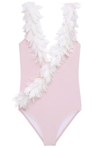Pink V Neck Swimsuit with Petals