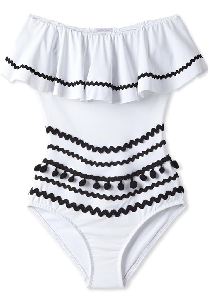 White Draped Bathing Suit for Women with Black Pom Poms