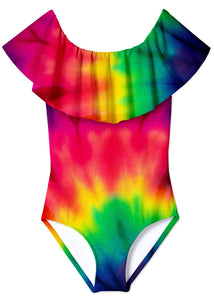 Colorburst Tie Dye Draped Swimsuit for Girls