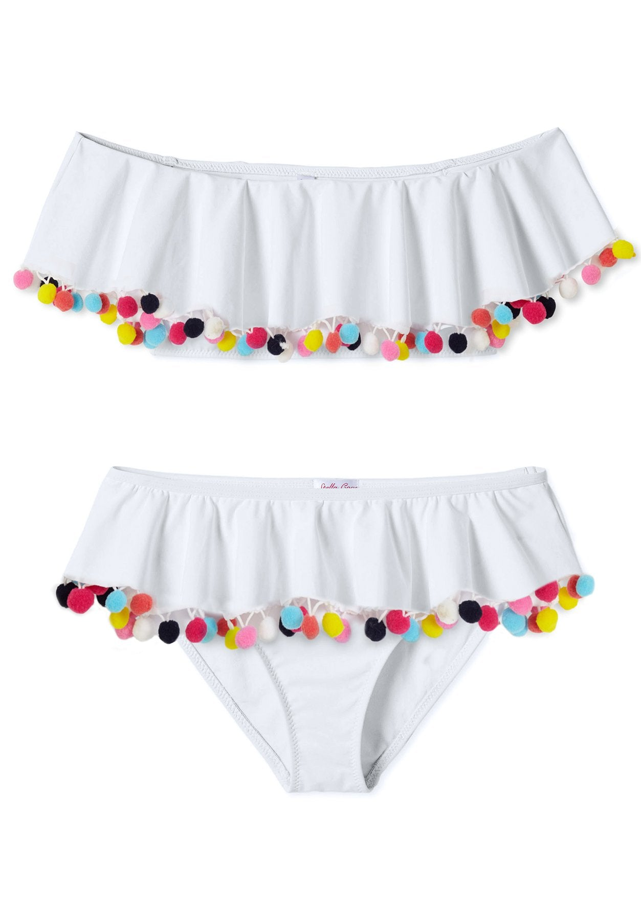 White Draped Bikini with Multicolor Pom Poms