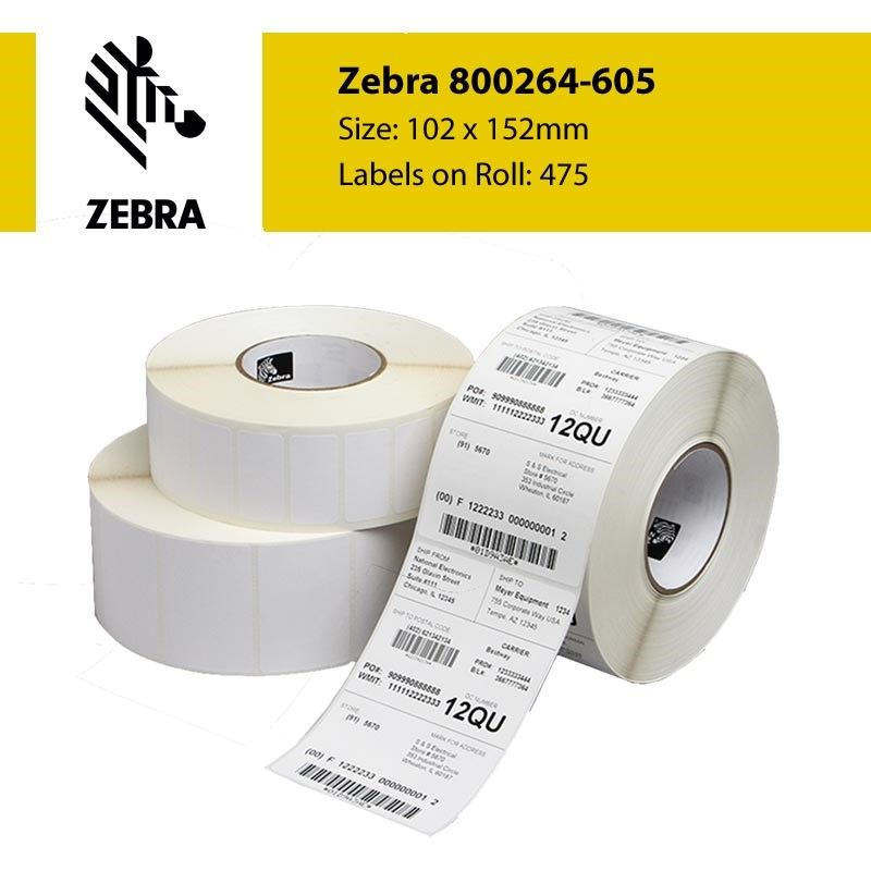 800264-605 Zebra Z-Select 2000D 102mm x 152mm Paper Label (Perforation) Single Roll