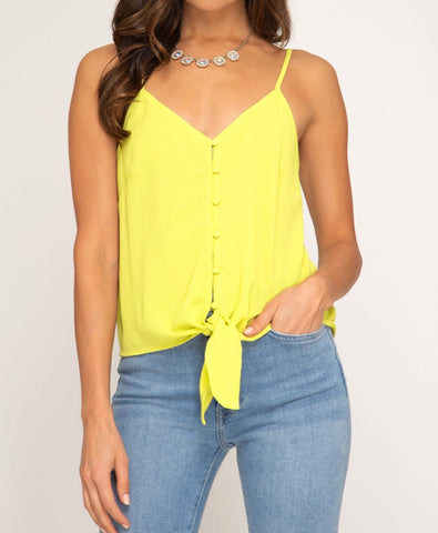 Yellow Tie Front Sleeveless Cami