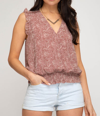 Blush Ruffled Sleeve Print Top