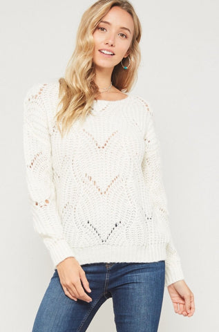 Off White Solid Knit Sweater