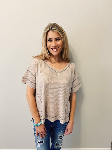 McKenna Stone Half Sleeve Knit Top