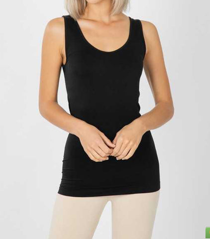 Black Scoop Neck Seamless Tank Top
