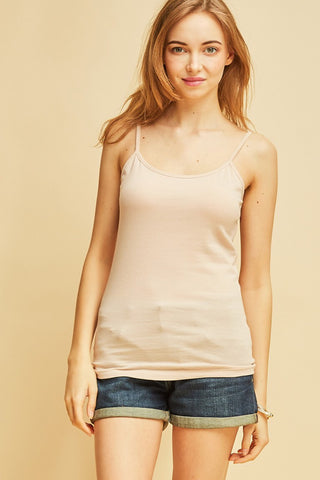 Tan Solid Spaghetti Strap Top