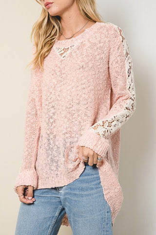 Dusty Pink Lace Detail Sweater