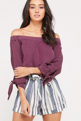 Deep Purple Off Shoulder Tencel Denim Top