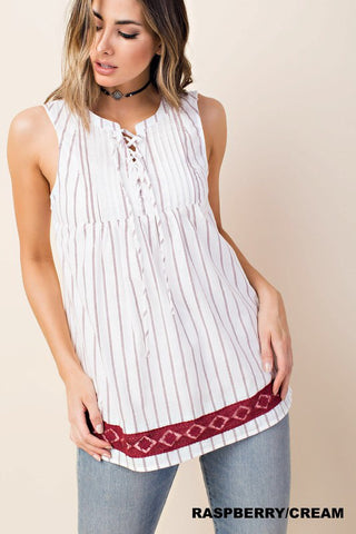 Lace Bottom Striped Sleeveless Top