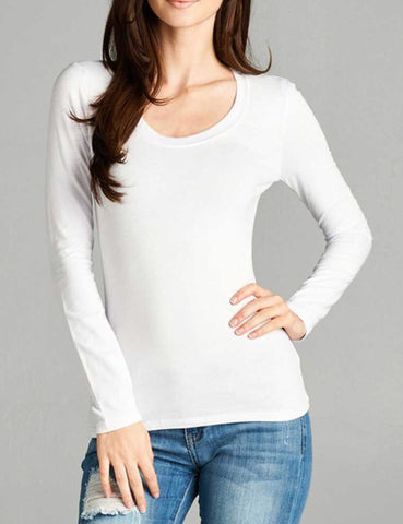 White Long Sleeve Scoop Neck Basic