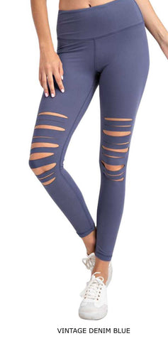 Blue Laser Cut Leggings