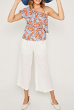 Burnt Orange Tropical One Shoulder Ruffle Top