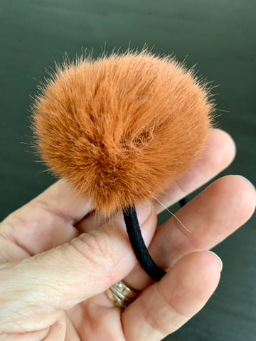Rust Faux Fur Ponytail Holder