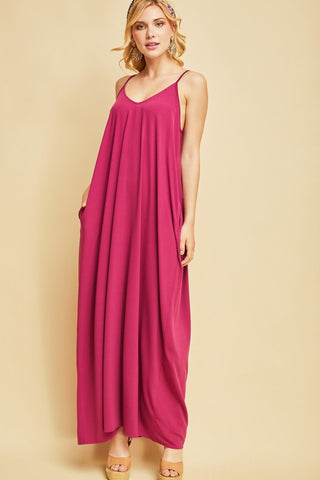 Plum V-neck Maxi Dress