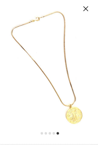 "Lady Liberty Coin Necklace - thicker 18"" chain"