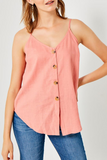 Coral Sleeveless Linen Button Down Tank