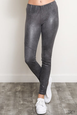 Grey Vegan Suede Leggings