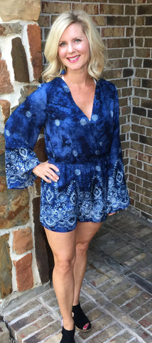 Indigo Romper with Bell Sleeves