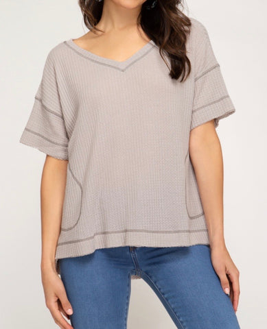 Stone Half Sleeve Thermal Knit Top- DOORBUSTER