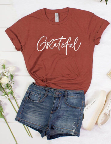 "Maroon ""Grateful"" Short Sleeve Top"