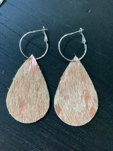Rose Metallic On Tan Handmade Hair On Hide Earrings