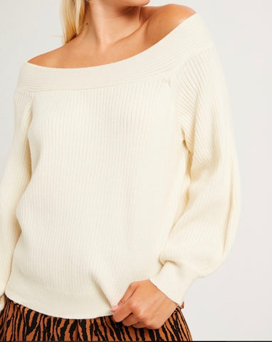 Cream Square Neck Sweater
