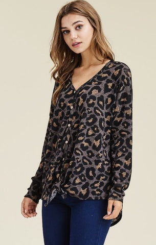 Grey and Wine Leopard Print Top