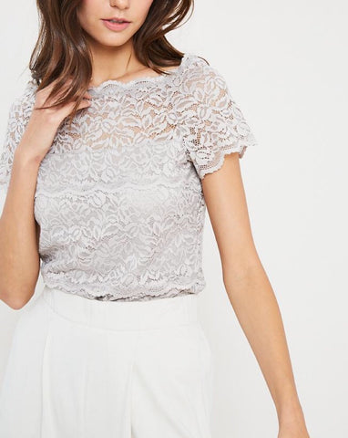 Champagne Lace Off The Shoulder Top
