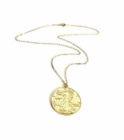 "Lady Liberty Coin Necklace- thin 20"" chain"