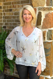 Ivory Sequin Star Blouse