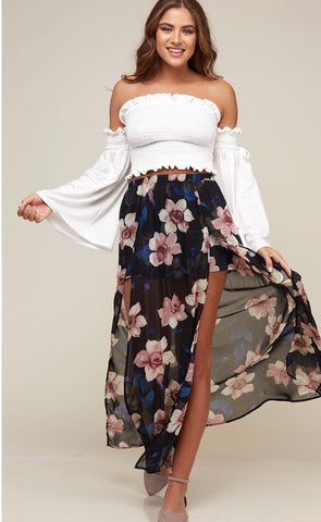Black and Mauve Maxi Skirt