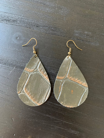 Olive Stamped Handmade Leather Earrings