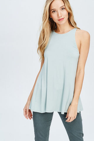 Aqua Split Back Top