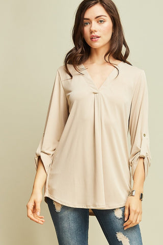 Tan Long Sleeve V-Neck Shirt