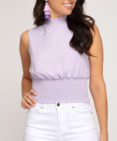 Lavender Sleeveless Mock Neck Top