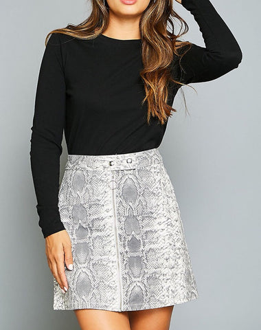 Animal Print Denim Skirt