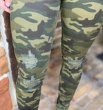 Distressed Camo Skinny Denim