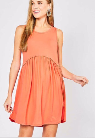 Coral Sleeveless Empire Dress