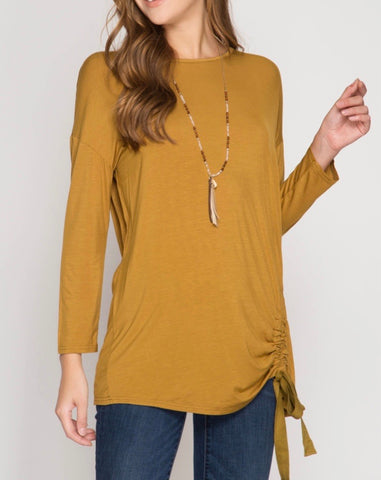 Mustard Long Sleeve Top with Open Back