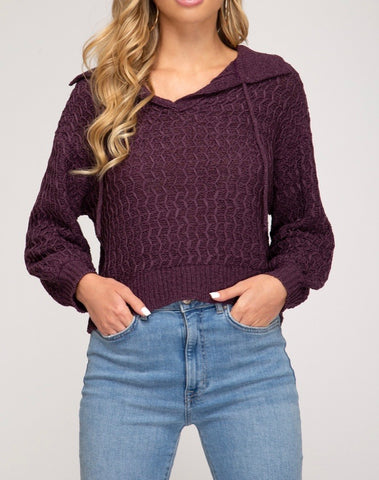 Purple V- Neck Crop Sweater- DOORBUSTER