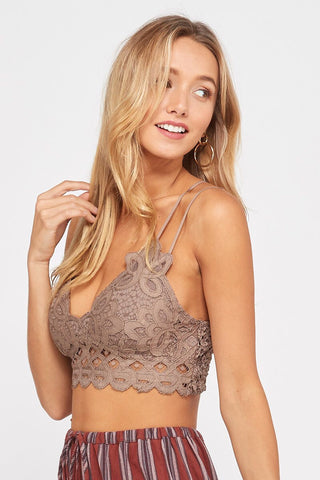 Cocoa Scalloped Lace Bralette