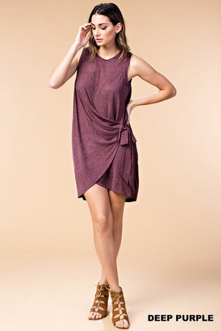 Deep Purple Side Tie Dress