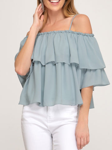 Blue-Green Off The Shoulder Ruffle Top