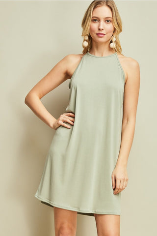 Light Olive Sleeveless Dress